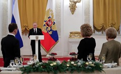 Putin. Reception to mark the New Year holiday.