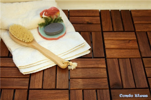 diy teak wood shower flooring