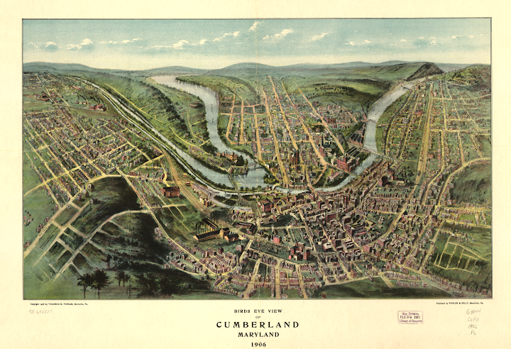 Panorama View of Cumberland, Maryland 1906