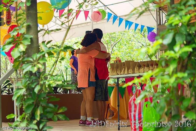 An embrace with my husband during venue preparation at Plantationville