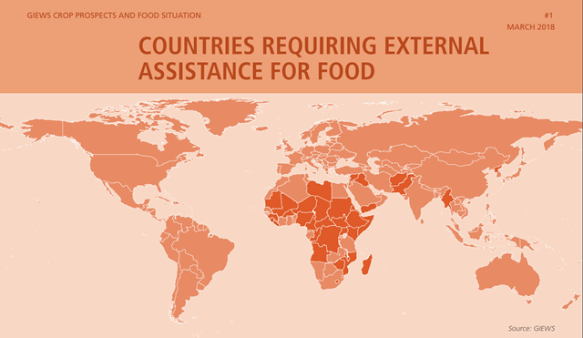 Countries requiring external assistance for food, March 2018. GIEWS Crop Prospects And Food Situation #1. Graphic: UNFAO / GIEWS