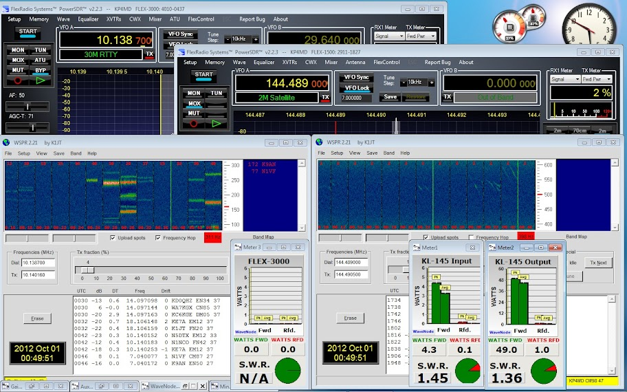 PowerSDR                       running on a FLEX-3000 and a FLEX-1500 with 2                       meter transverter, with instances of WSPR for HF                       and VHF. WaveNode monitors the input power to the                       RM Italy KL-145 linear amplifier and power output                       of both transmitters.