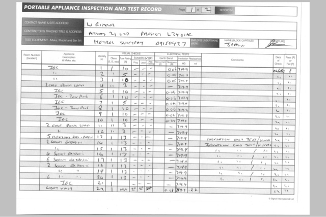 Pat Testing Record Sheet Template Choice Image Template Design Ideas