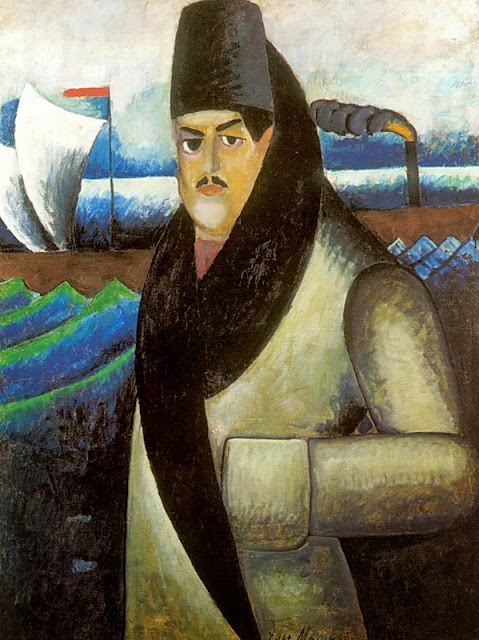 Ilya Mashkov - Self-portrait with a steamboat