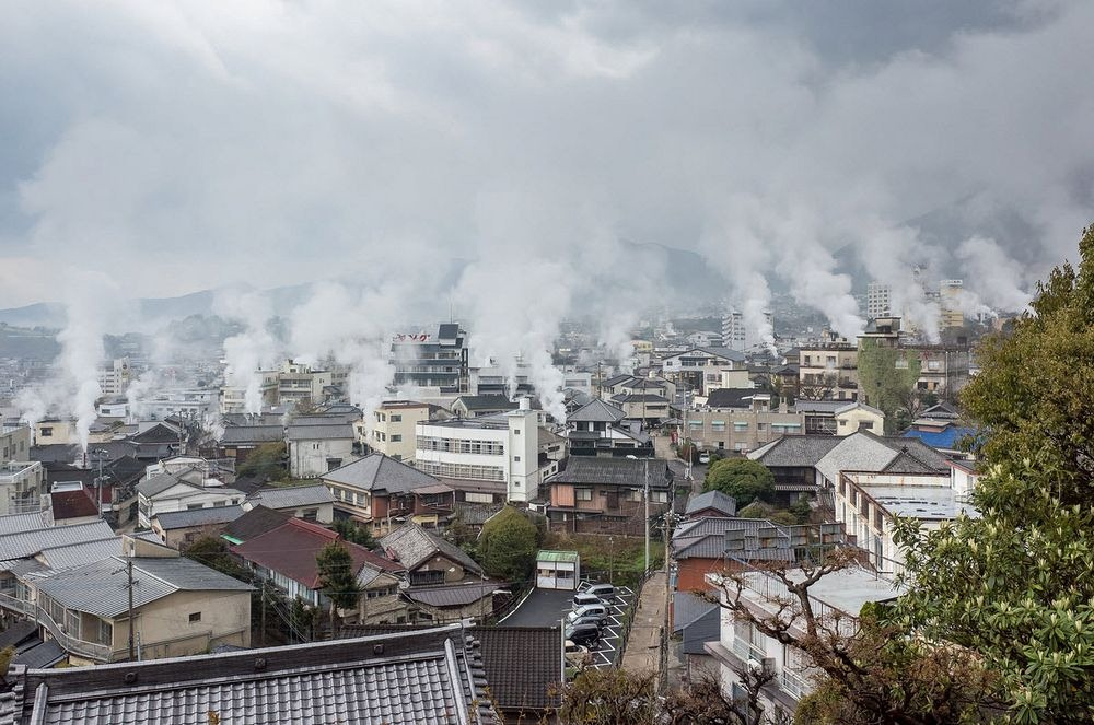 As fontes escaldantes de Beppu, Japão