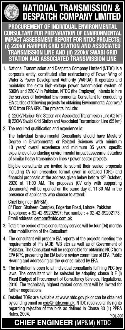 National Transmission And Dispatch Company Jobs September 2020