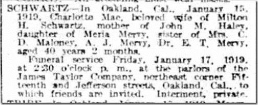Charlotte Schwartz obit SF Examiner Jan_17_1919