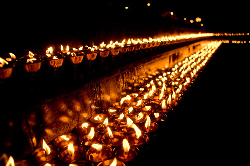 Candles In Night, Yoga And Meditation