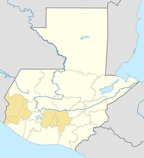截至2012年年底為止,我去過的瓜地馬拉省分示意圖