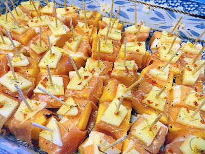 Prosciutto wrapped cantaloupe with red pepper lime oil and manchego recipe
