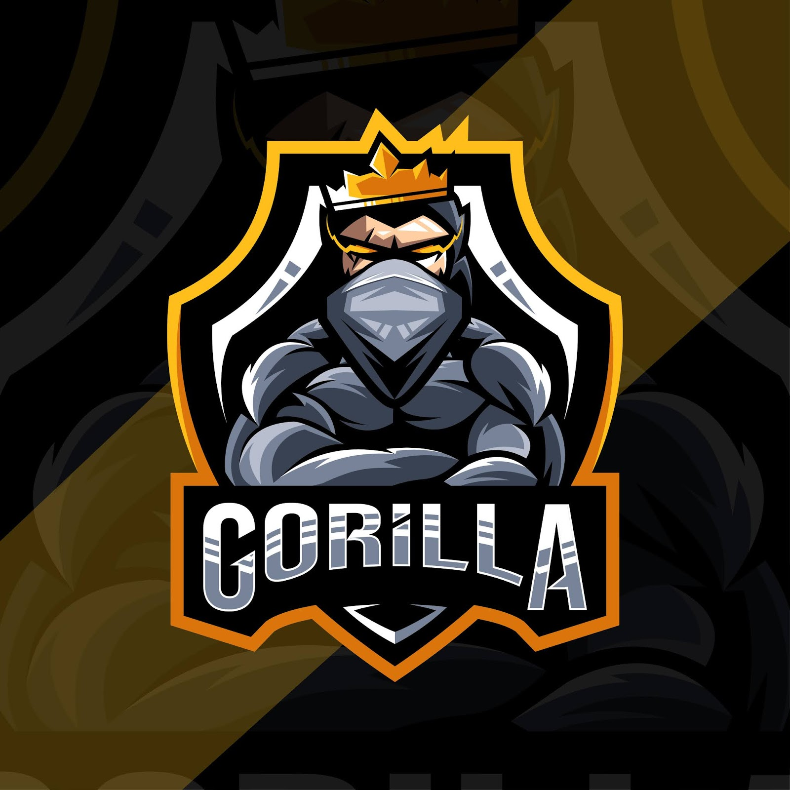 King Gorilla Mascot Logo Design Free Download Vector CDR, AI, EPS and PNG Formats