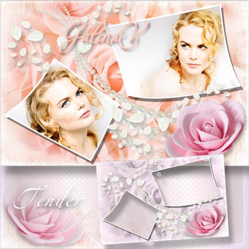 Цветочная рамка с розой - Нежность