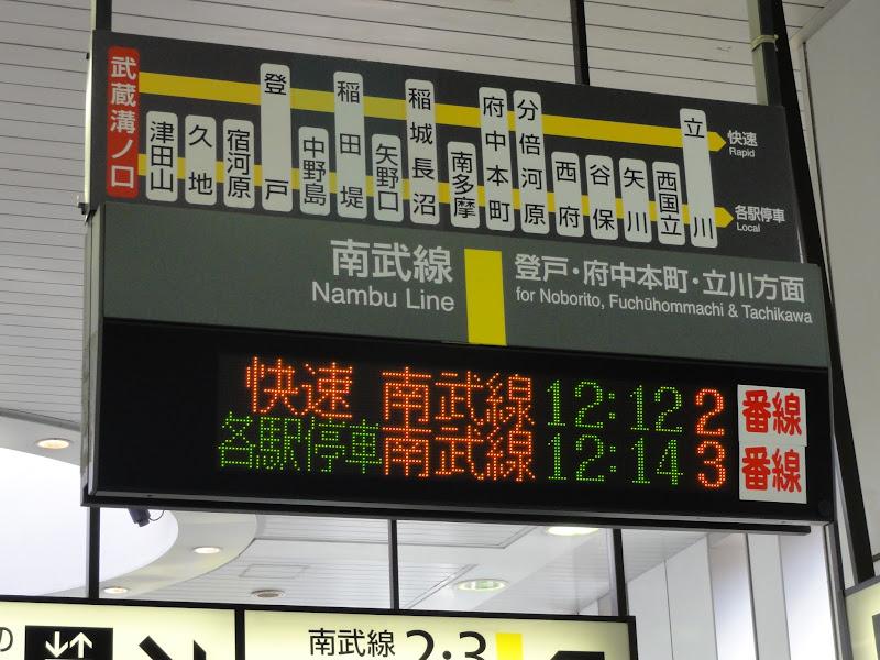南武線 武蔵溝ノ口駅の発車標の設定が変更されました。