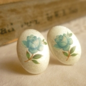 Vintage blue rose earrings