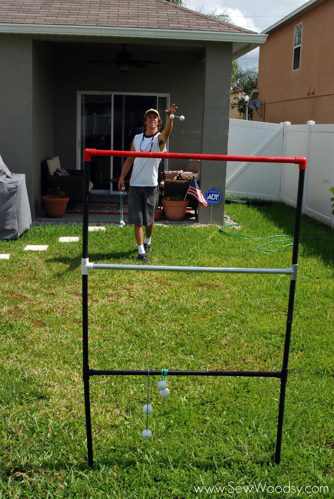 DIY Ladder Golf Game created by SewWoodsy.com #DIY #SummerGames