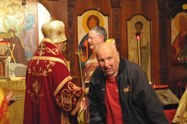 Charlie Kaczinski had presented Bishop Michael with an icon of the Theotokos and Christ.