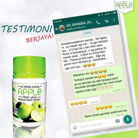 testimoni apple fiber plus 1