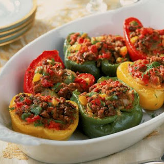 Baked Stuffed Peppers With Ground Beef and Corn