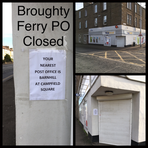 Broughty Ferry Post Office closed with effect from Wednesday 25 March 2017