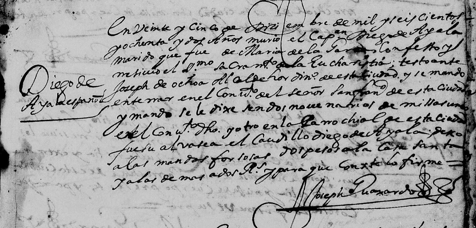 Death Record of Diego de Ayala Monterrey Nuevo Leon Mexico