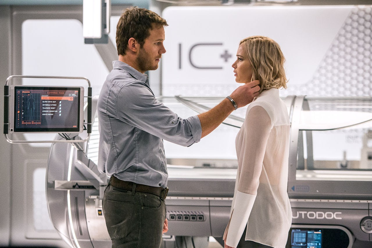 Chris Pratt and Jennifer Lawrence star in  PASSENGERS. (Photo courtesy of Columbia Pictures).