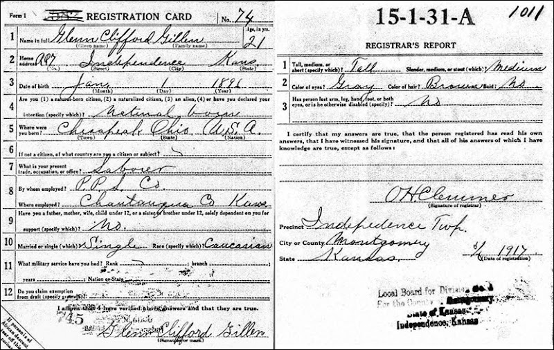 GILLEN_Glen C_WW I Draft Card_1917_IndependenceMontgomeryKansas
