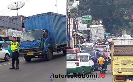 Pertigaan Simpang Sukaratu Cibadak Macet, Polisi Lakukan Buka Tutup Jalan