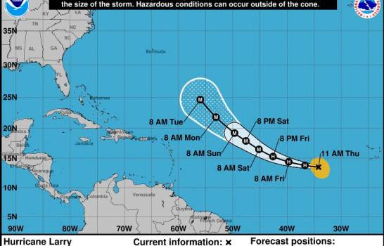 Aumenta potencia y tamaño del huracán Larry, pero aún sin amenazar tierra
