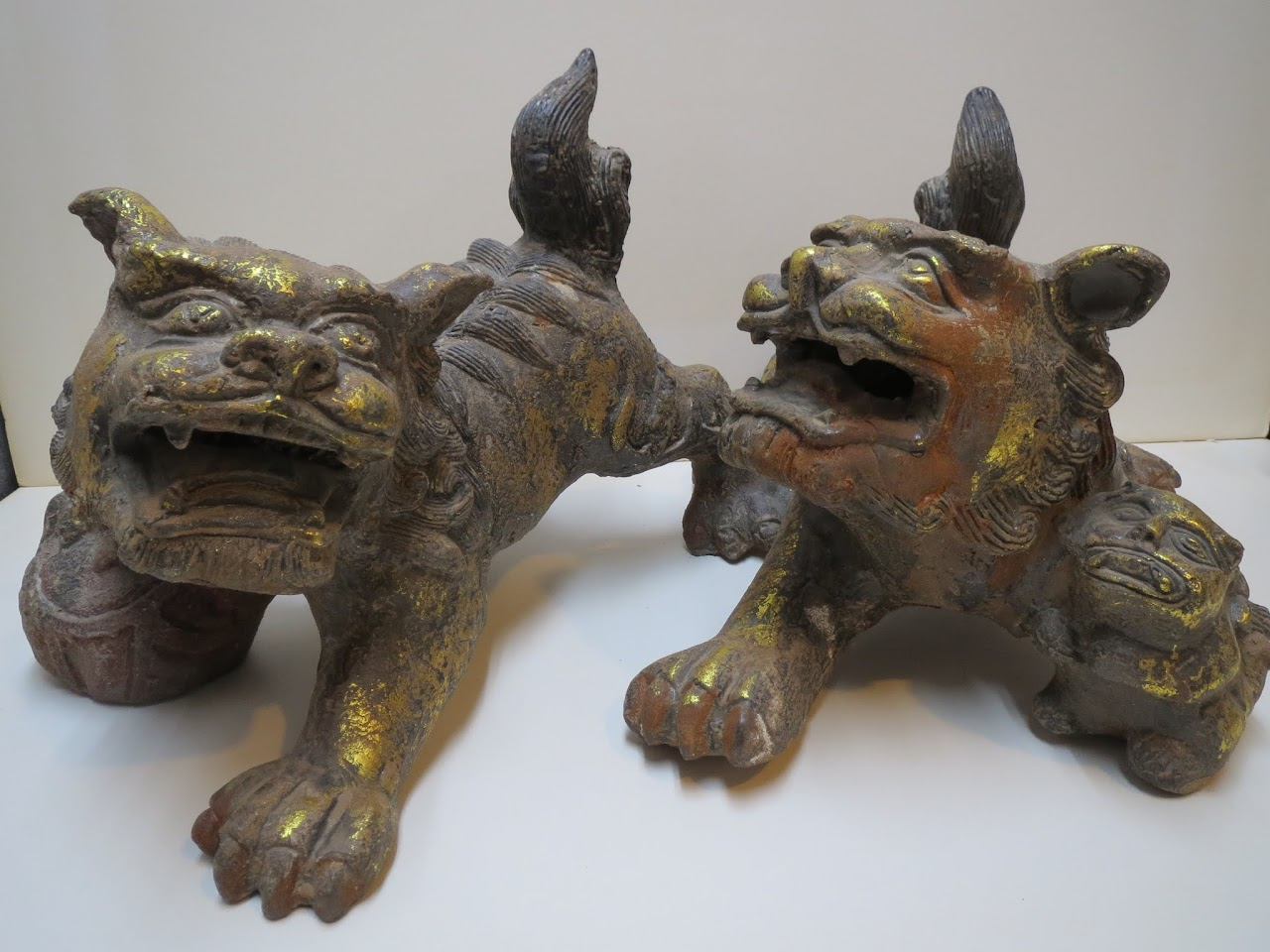Cast Iron Foo Dog Pair