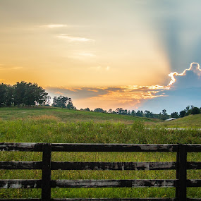 Country Sunset by Angela Moore - Landscapes Sunsets & Sunrises ( farm, field, sky, sunset, fences, kentucky )
