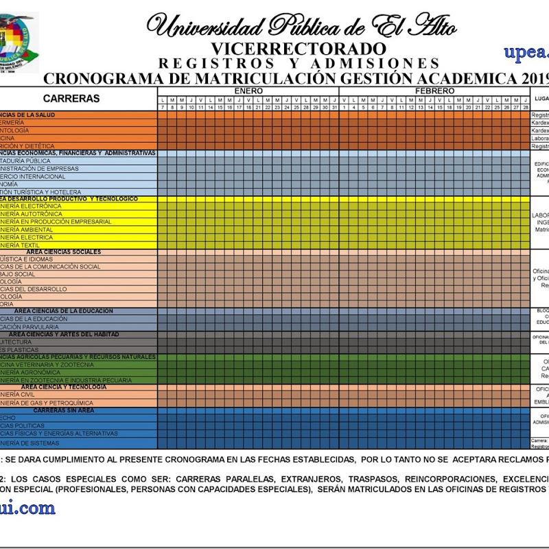 Cronograma de matriculación UPEA 2019: Fechas y lugares de matriculación