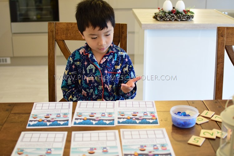 Winter Themed Ten Frames Counting Activity