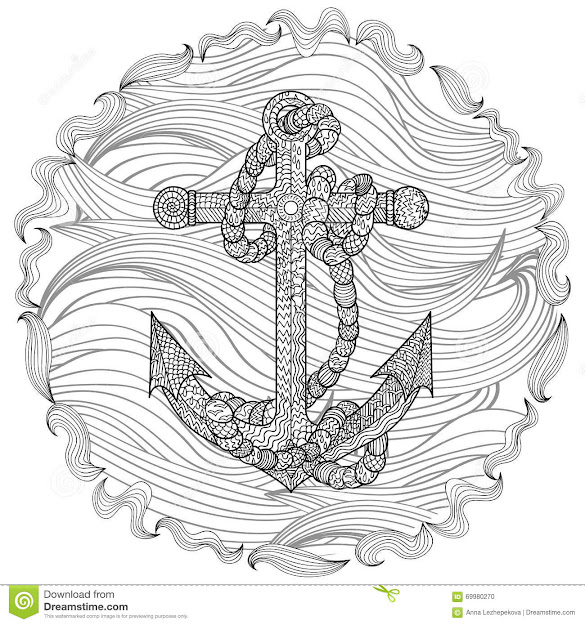 Anchor With Heart Coloring Page