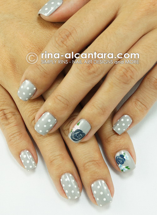 Blue Rose Nail Art Design