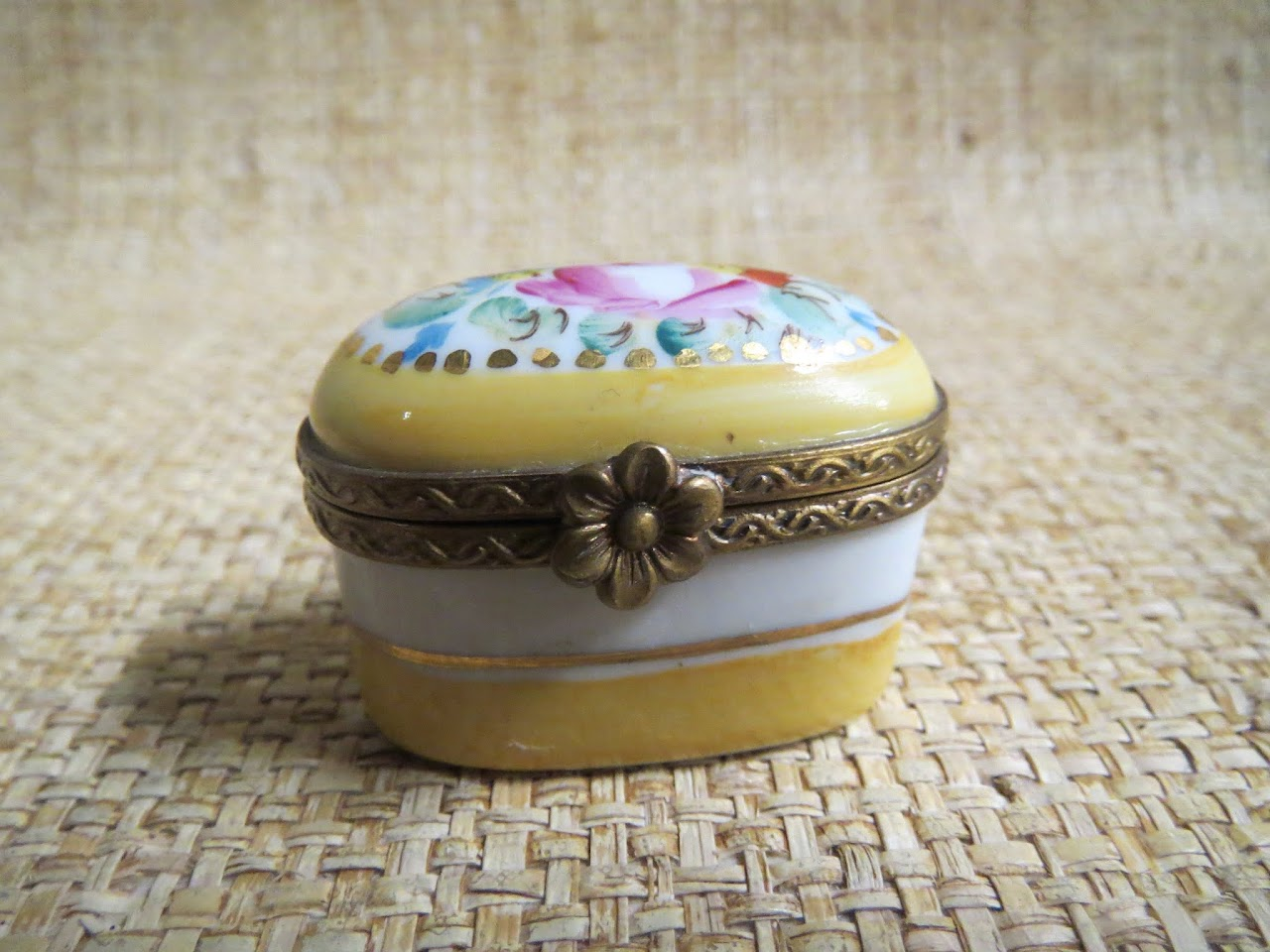 Limoges Yellow Pill Box