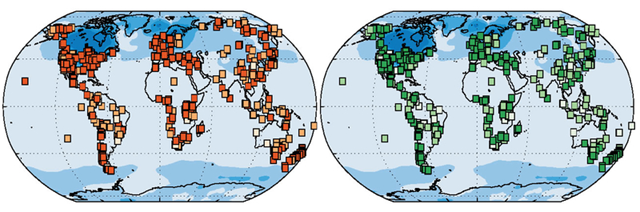 The world's vegetation has changed since the last ice age. The map on the left shows the changes in plant species and the map on the right shows changes in structure such as tundra becoming forest. The darker the squares the greater the change. Graphic: Connor Nolan