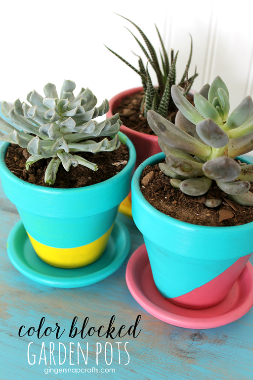 Color Blocked Garden Pots at GingerSnapCrafts.com