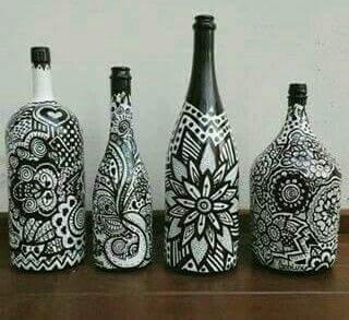 Como Decorar Botellas De Vidrio A Blanco Y Negro