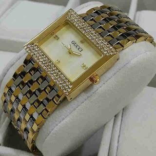 jam tangan Gucci tikar kecil silver kombi gold