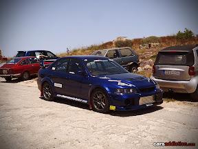 Blue Mitsibishi Lancer Evo 6
