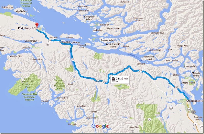 Campbell River, BC to Port Hardy, BC - Google Maps