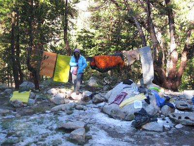 Time to dry out our things...amid the hail  ©http://backpackthesierra.com