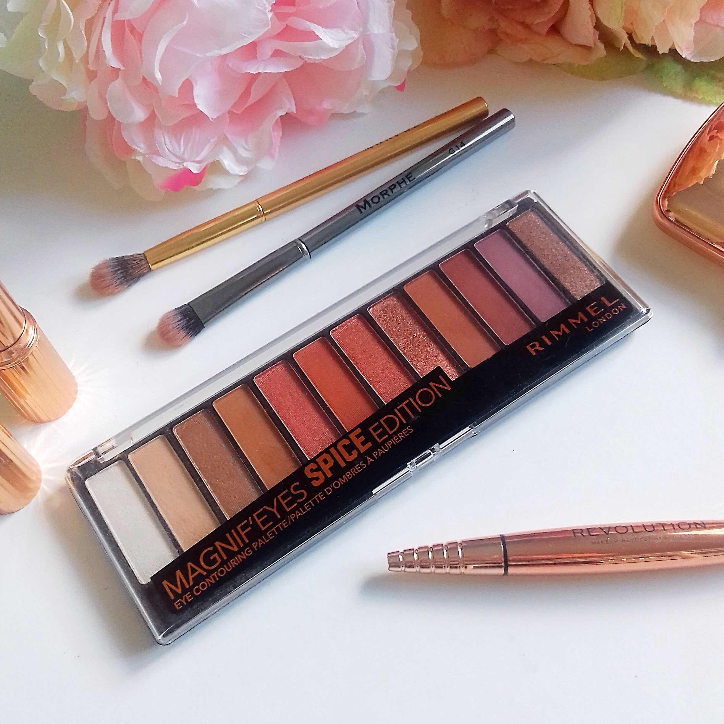 rimmel, spice edition, magnifeyes eyeshadow palette, review, makeup, warmtones, dupe for naked heat
