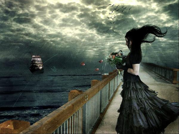 Dark Sea And Girl With Flowers, Magic Beauties 2