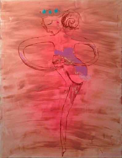 exposition art contemporain levallois hôpital britannique la danseuse aux étoiles peinture acrylique aérosol toile 89x116 cm grand tableau ballerine femme rodin grâce féérie onirisme rêve ballet délicat chagall degas art paris