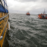Poole ILB towing Dolphin III during a training exercise, with ALB in Wills Cut off Brownsea Island - 22 April 2014 Photo: RNLI Poole/Anne Millman