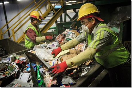 recycling sorting belt in chinese factory WSJ photo