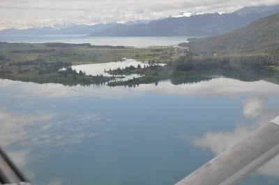 Picture from lake looking to bay where cabin is. Passage between the two is easy for a float plane to pass through.