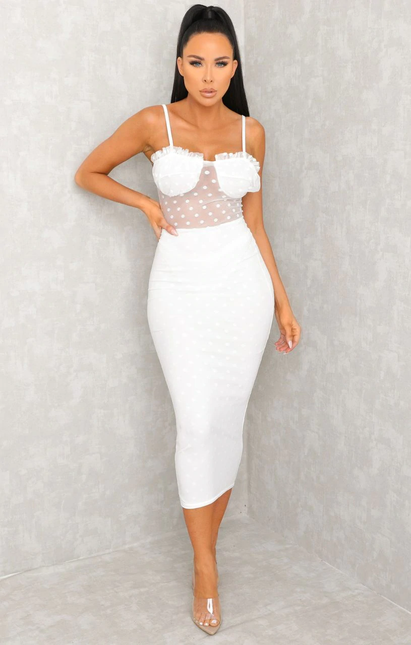 White Polka Dot Mesh Strappy Midi Dress - Sophia.