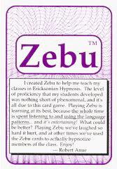 Cover of Robert Anue's Book Zebu Erickson Hypnosis Game Manual